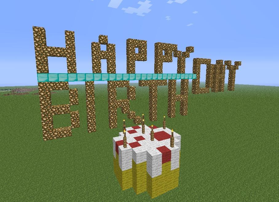 happy birthday card in minecraft  diy, Birthday card