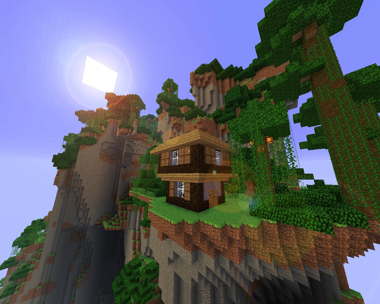 minecraft house on a cool cliff diy