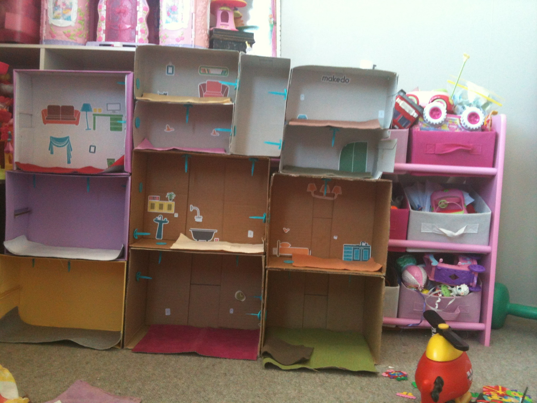Cardboard Box Doll House DIY