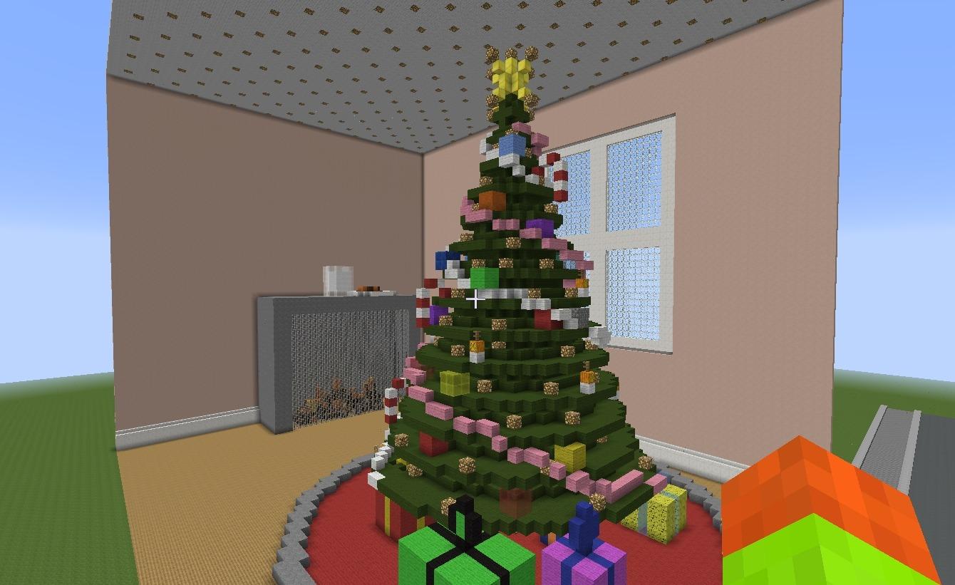 Minecraft Christmas.Minecraft Christmas Tree With Help Diy