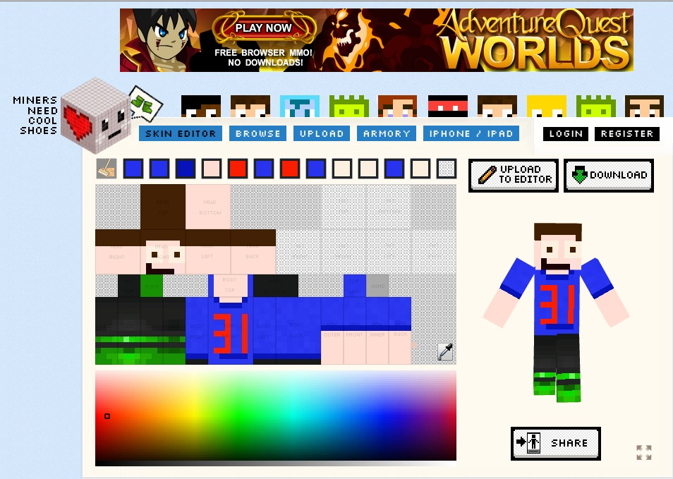 d410b439b3 Minecraft Skin Editor - DIY