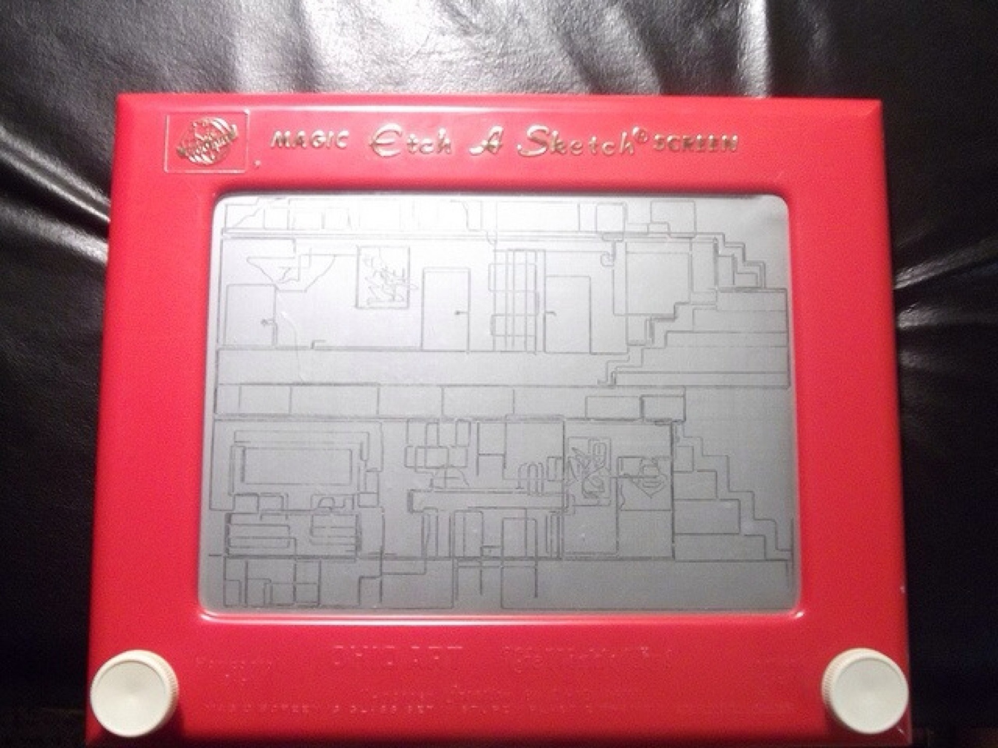 Interior design sketch on a etch a sketch
