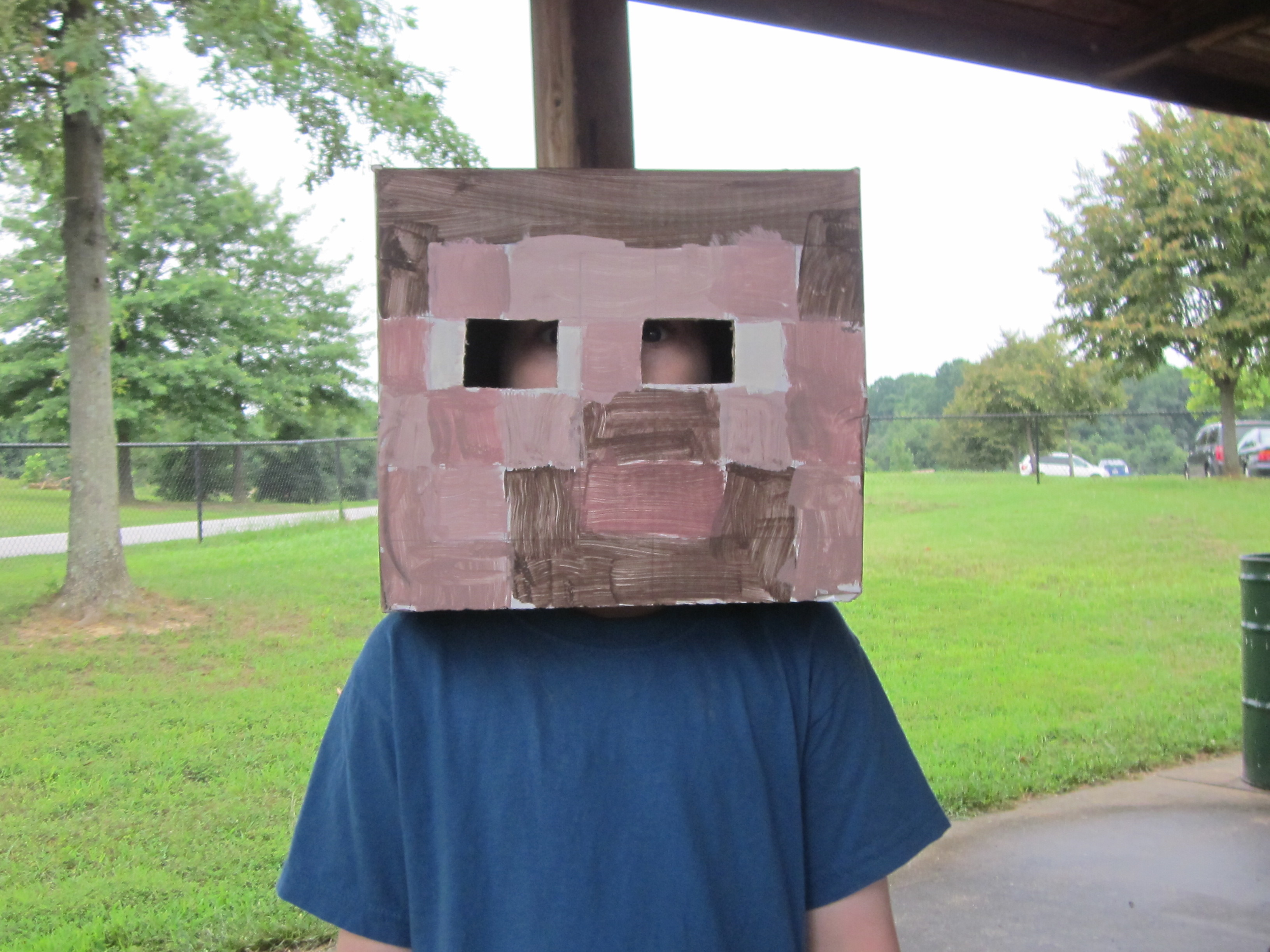 Finish Cardboard Using Paint To Create Minecraft Steve