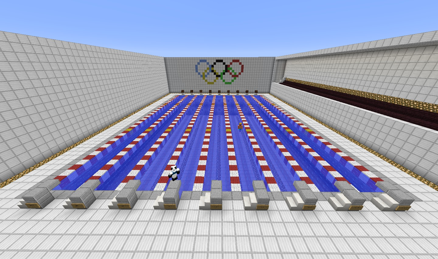 minecraft olympic sized swimming pool diy - Olympic Swimming Pool Top View