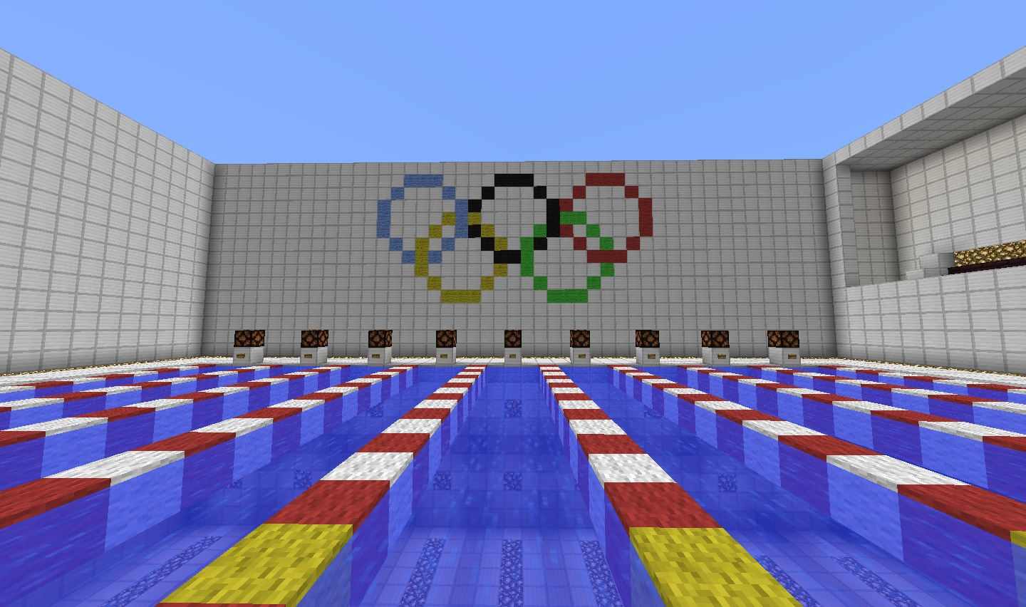 Minecraft Creation Olympic Stadium With 3 Swimming Pools