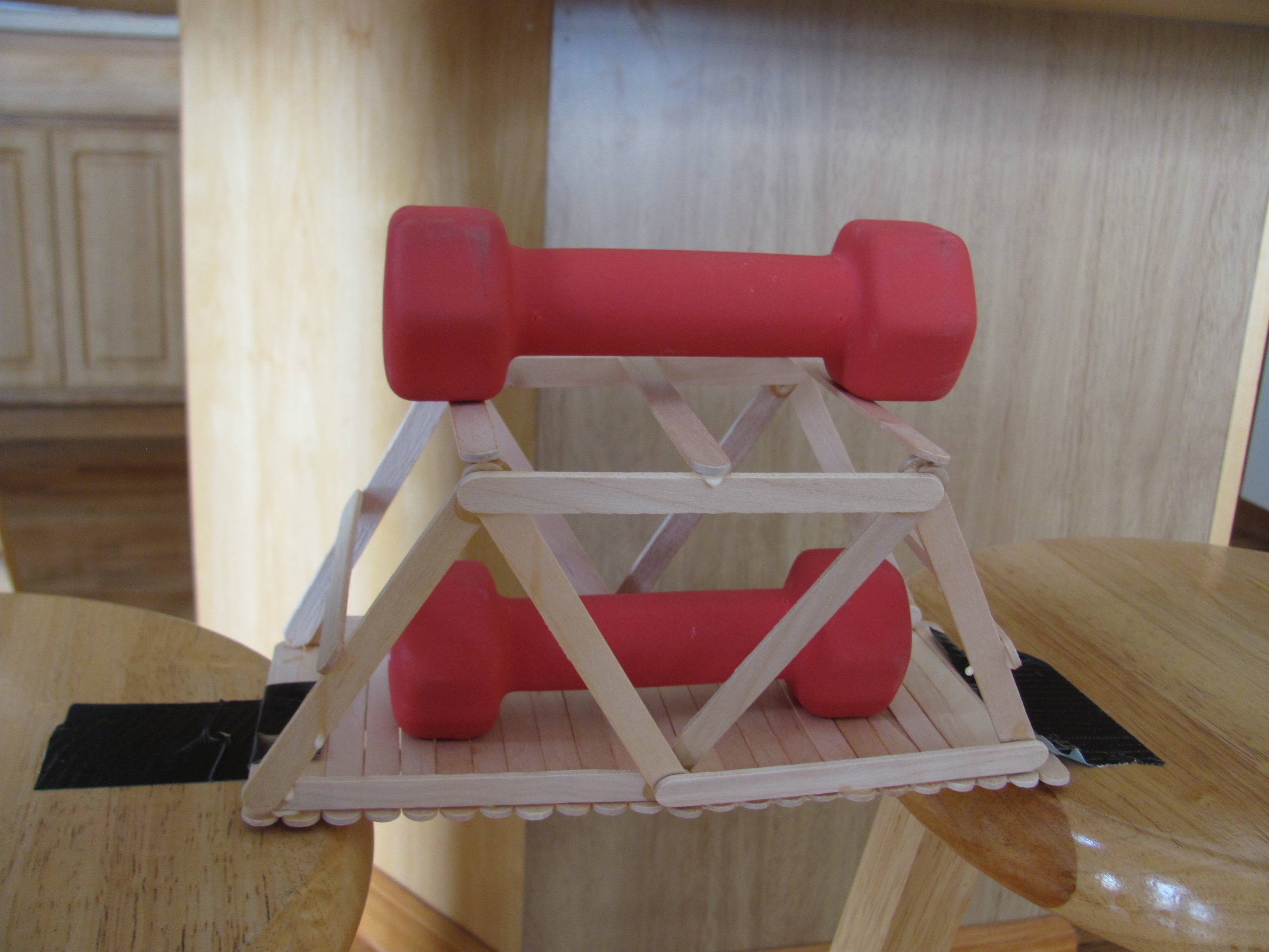 Popsicle Stick Bridge That Holds 6 Lbs Of Weight Diy